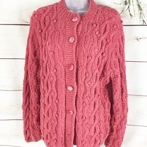J Jill Soft Chenille Pink Cable Knit Cardigan